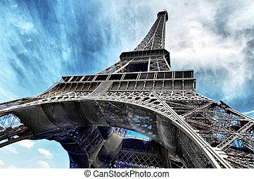 señales, eiffel, uno, más, torre, reconocible, world.