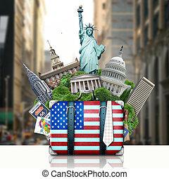 señales, estados unidos de américa, maleta