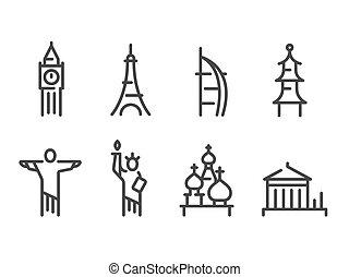 señales, iconos, conjunto