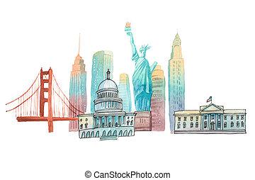 señales, ilustración, acuarela, famoso, norteamericano, ...