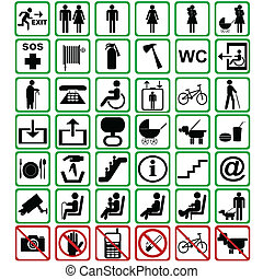 señales, internacional, utilizado, transporte, medios