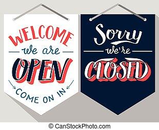señales, lettered, abierto, cerrado, mano