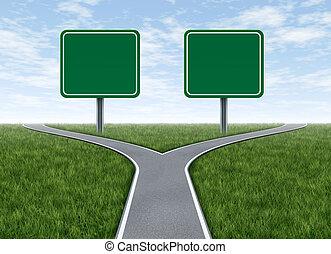 señales, opciones, dos, camino, blanco