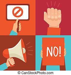 señales, protesta, vector, iconos