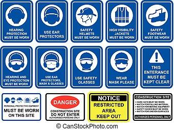 señales, seguridad, mandatory, conjunto, blanco, equipo, azul, pictogram, fondo.