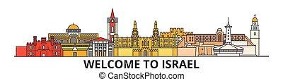 señales, silueta, israelí, vector, israel, banner., delgado, urbano, viaje, línea, plano, cityscape, iconos, perfil de ciudad, contorno, illustrations.