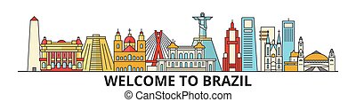 señales, silueta, vector, brasileño, banner., delgado, urbano, viaje, línea, plano, cityscape, iconos, perfil de ciudad, contorno, brasil, illustrations.