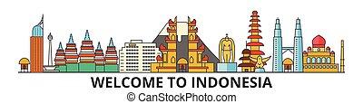 señales, silueta, vector, indonesia, banner., delgado, urbano, viaje, línea, plano, cityscape, iconos, perfil de ciudad, contorno, indonesio, illustrations.