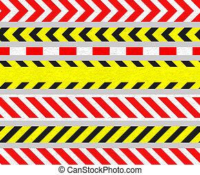 señales, tira, cinta, seamless, conjunto, s, precaución, ...