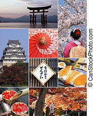señales, y, collage, de, japón