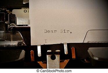 señor, viejo, mecanografiado, texto, querido, máquina de escribir