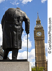 señor, winston churchill, estatua, y, big ben, en, londres