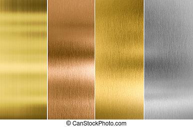 sešivaní, stříbrný, zlatý, a, bronzovat, kov, tkanivo, grafické pozadí
