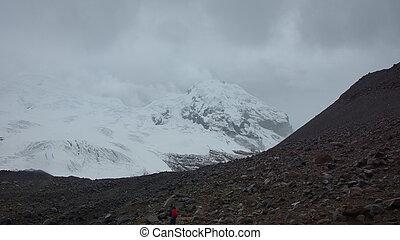Se acercar, solo, glaciar, antisana, -, nublado, ecológico,...