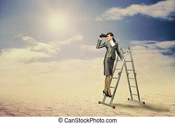 se, affärskvinna, genom, kikare