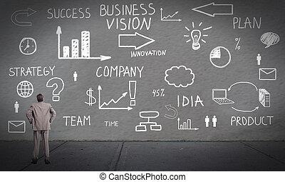 se, affärsman, plan., nyskapande