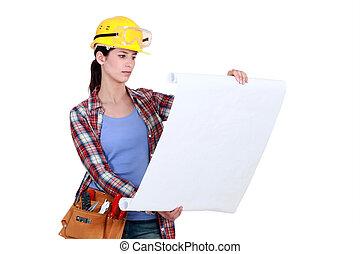 se, anläggningsarbetare, planer, kvinnlig