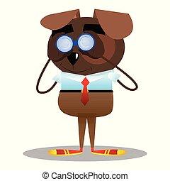 se, binoculars., genom, hund
