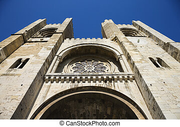 Se Cathedral, Lisbon. - Low angle view of Se Cathedral in...