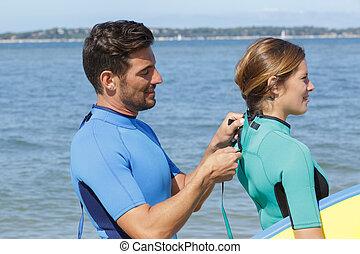 se cerrar, arriba, wetsuit, womans, hombre