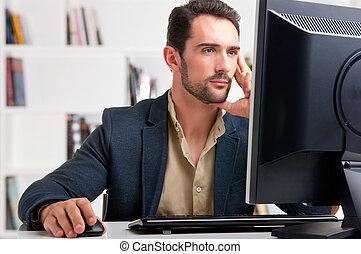 se, dator övervaka, man