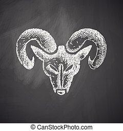 se dirigir de, el, carnero, icono