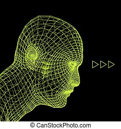 se dirigir de, el, persona, de, un, 3d, grid., cabeza...