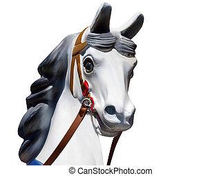 se dirigir de, un, viejo, tiovivo, caballo