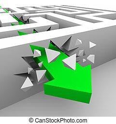 se estropea, por, paredes, verde, flecha, laberinto