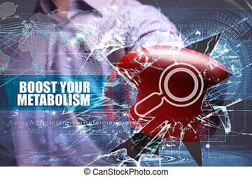 se estropea, red, inscription:, concept., joven, virtual, su, futuro, internet, pantalla, hombre de negocios, empresa / negocio, alza, metabolism, tecnología