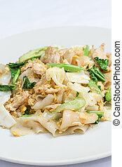 se-ew, alimento, tailandês, almofada, moo
