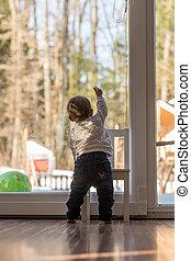 se, fönster, baby, hem, flicka, synhåll, baksida, ute