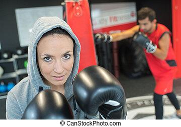 se, kamera, boxare, kvinnlig