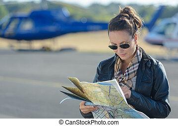se, karta, kvinnlig, pilot