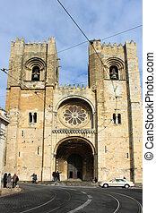 se, katedrála, do, alfama, lisabon, portugalsko