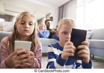 se, mobil, fokuserat, ringa, barn