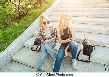 se, mobiltelefon, vänner, två, bilder