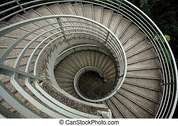 se mover en espiral, saturación, escaleras, bajo