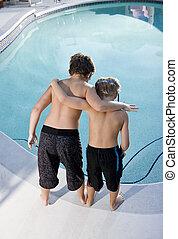 se, pojkar, slå samman, simning, baksidaen beskådar
