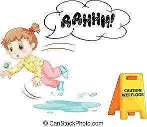 se resbalar, mojado, niño, piso