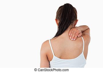 se tillbaka, av, kvinnlig, med, hals smärta