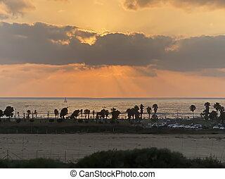 sea., όμορφος , πάνω , ηλιοβασίλεμα , μεσογειακός
