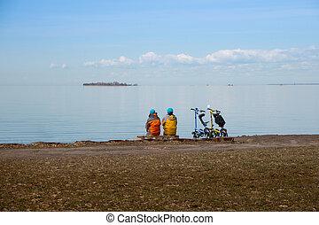 sea., 宇宙旅行, bicycle., 2, コピー, 道, concept., 光景, トラック, 動機づけ, サイクリング, 活動, 海岸, 休日, サイクリスト, フィットネス, 旅行, サイクリング, 弛緩, bicycles, 楽しむ