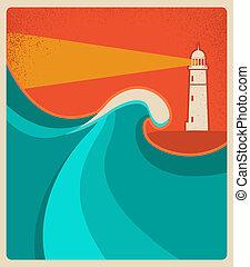 sea., 燈塔, 藍色, 卡片, 背景, 矢量, 海報