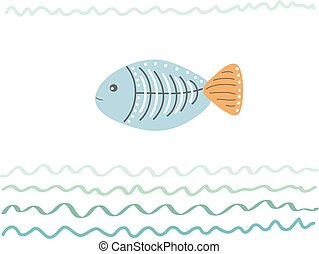 Sea abstract background with fish. Hand drawn vector illustration for your design card or postcard, poster or travel, vacation or leisure, trip or tourism - Vector
