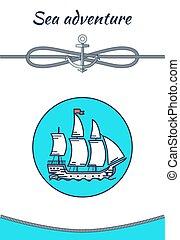 Sea Adventure Banner, Color Vector Illustration