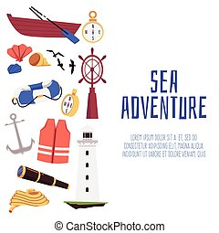 Sea adventure banner for social media background, flat vector illustration.