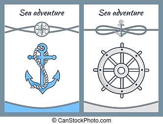 Sea Adventure Color Posters, Vector Illustration