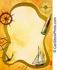 Sea adventure - Nautical themed composition on a stained...