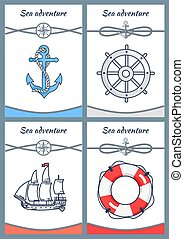 Sea Adventure Set of Four Bright Colorful Banners